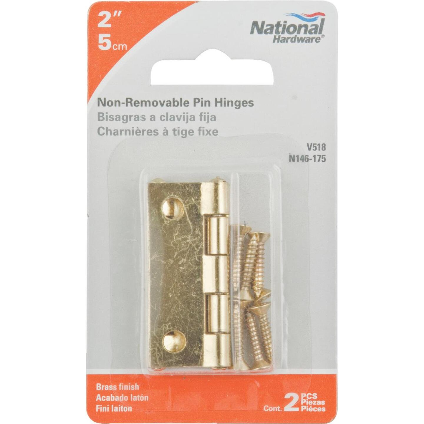 National 2 In. Brass Tight-Pin Narrow Hinge (2 Count) Image 2