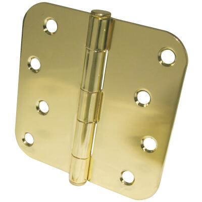Ultra Hardware 4 In. x 5/8 In. Radius Polished Brass Door Hinge (3-Pack)