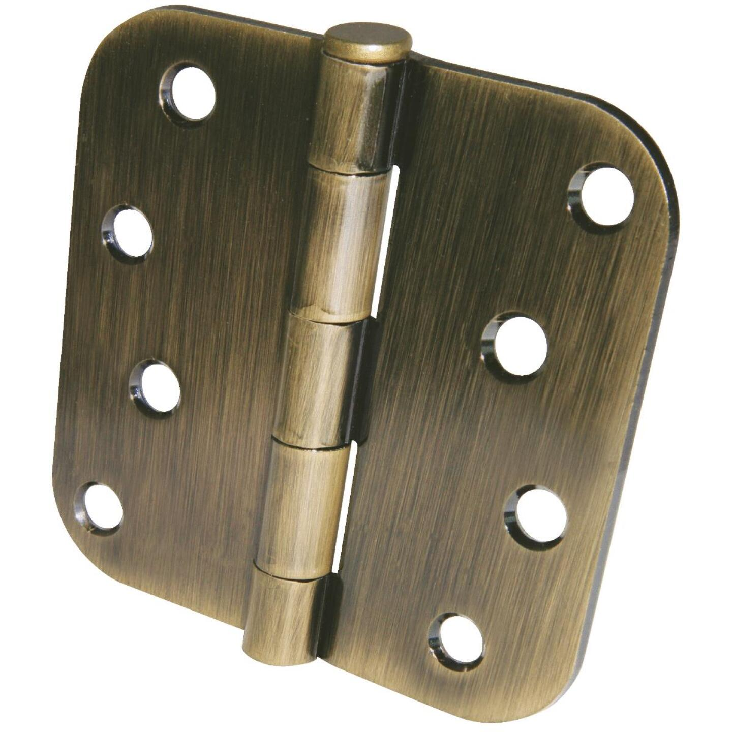 Ultra Hardware 4 In. x 5/8 In. Radius Antique Brass Door Hinge (3-Pack) Image 1