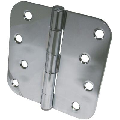 Ultra Hardware 4 In. x 5/8 In. Radius Polished Chrome Door Hinge (3-Pack)