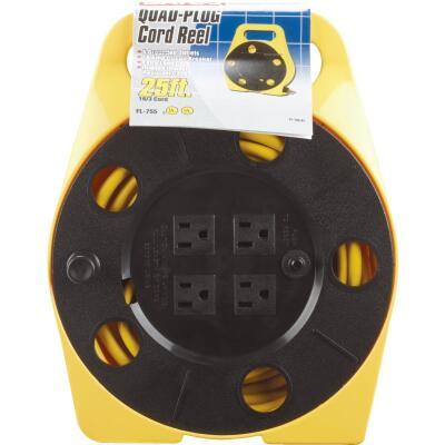 Bayco 25 Ft. of 16/3 Cord Capacity Polypropylene Multi-Plug Cord Reel