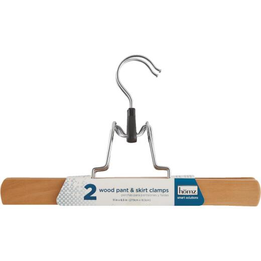 Homz Smart Solutions Lacquered Wood Pant/Skirt Hanger (2-Pack)