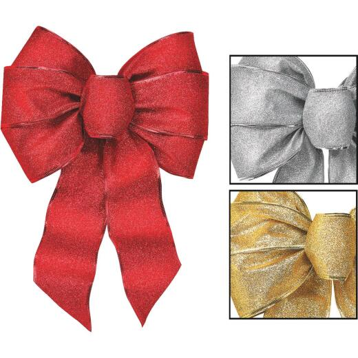Holiday Trims 7-Loop 8-1/2 In. W. x 14 In. L. Assorted Glitter Christmas Bow